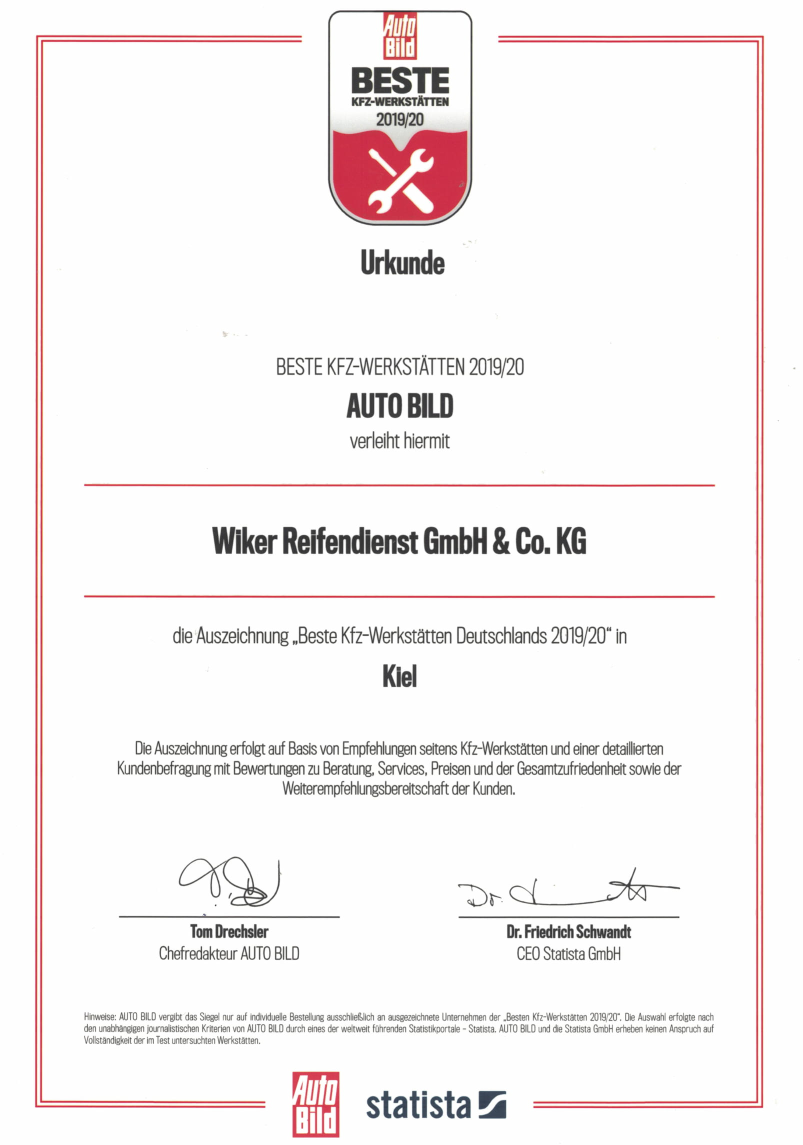 Auszeichnung zur besten Werkstatt 2019 in Kiel